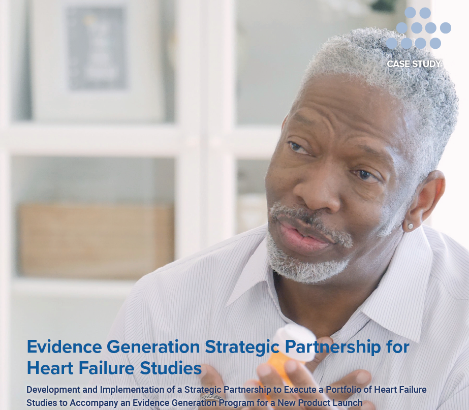 """Case study cover for """"Evidence Generation Strategic Partnership for Heart Failure Studies"""""""