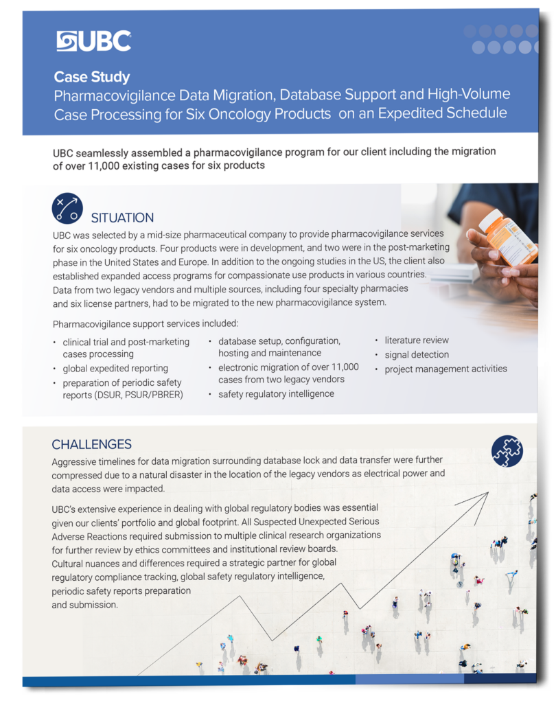 Preview of case study about pharmacovigilance data services