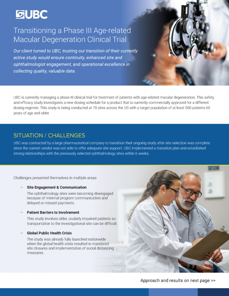 Case study for Phase III ophthalmology clinical trial