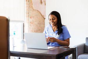 Clinical nurse running a telehealth visit