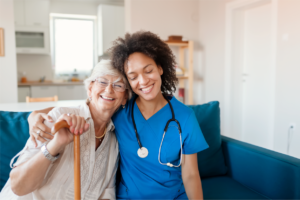 Nurse working with a patient for better adherence